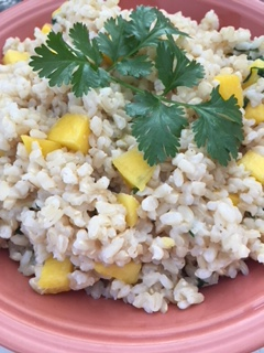 Easy gluten free vegan coconut mango rice recipe with ciliantro