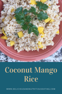 Easy gluten free vegan coconut mango rice recipe with ciliantro