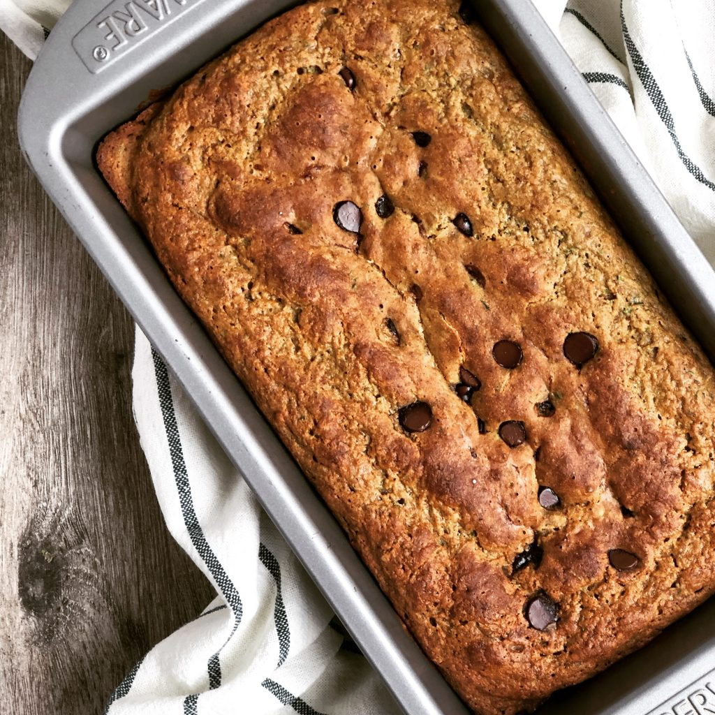healthy gluten free zucchini bread with chocolate chips