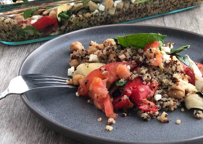 Easy vegetarian and gluten free Mediterranean Quinoa Bake