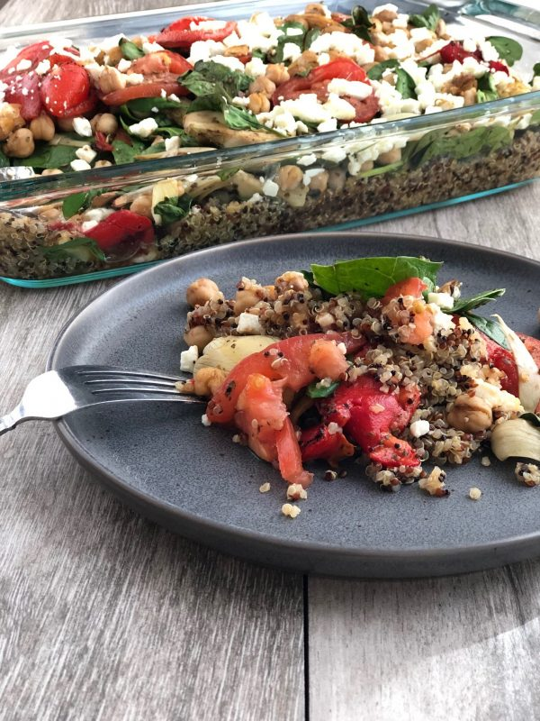 Easy vegetarian and gluten free Mediterranean Quinoa Bake