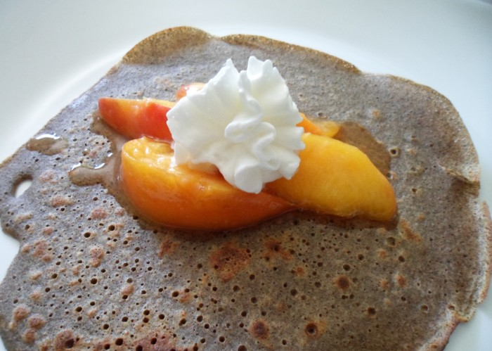 Buckwheat Crepes with Honey Roasted Peaches