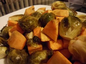 Roasted Brussels Sprouts and Sweet Potatoes - Just season and bake