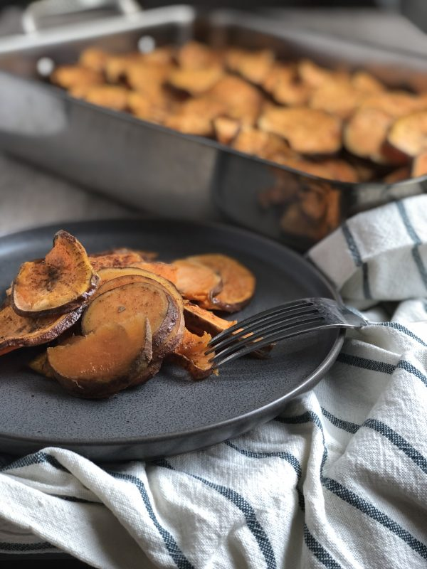 This scalloped sweet potato casserole is made with only 5 ingredients. It is also vegan, dairy free, gluten free, and nut free so everyone shold be able to enjoy!