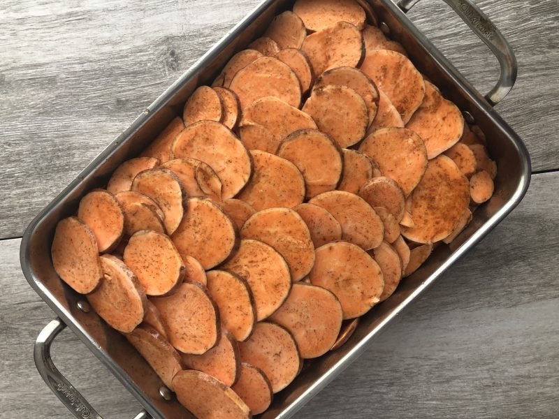 This vegan scalloped sweet potato casserole is free from the most common allergens and is perfect for your next gathering of family and friends