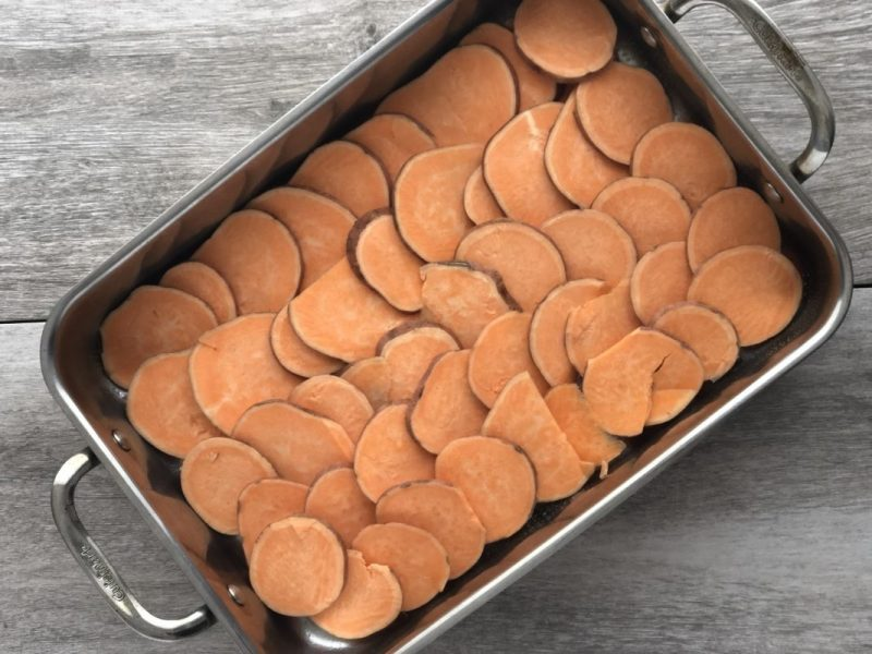 Free of the common allergens, this vegan scalloped sweet potato casserole is perfect for gatherings of friends and family