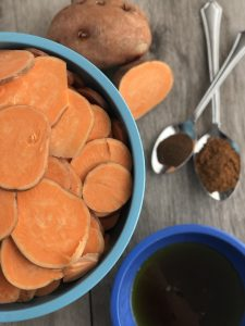 This gluten free, dairy free, nut free, vegan, scalloped sweet potato casserole is so simple and only 5 ingredients