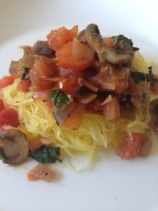 Spaghetti Squash with Fresh Vegetables and Herbs